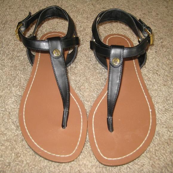 Womens Ralph Lauren Black Flat Sandals